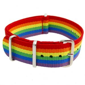 NATO Rainbow Stripe Nylon Watch Strap18mm 20mm